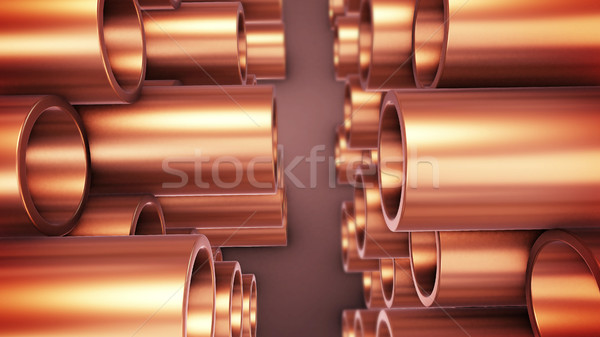 Polished copper pipes. Stock photo © klss