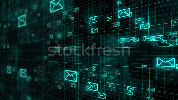 Glow mail envelopes on a dark grid background Stock photo © klss