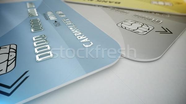 Kredi kartları beyaz 3D alışveriş iş Stok fotoğraf © klss