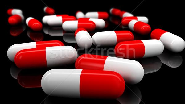 医療 錠剤 フィールド 孤立した 3dのレンダリング 黒 ストックフォト © klss