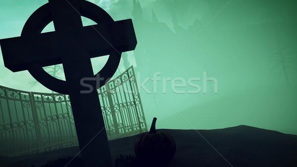 Halloween sombre château cimetière 3D Photo stock © klss