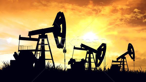 Oleju 3D przemysł naftowy wyposażenie budowy Zdjęcia stock © klss