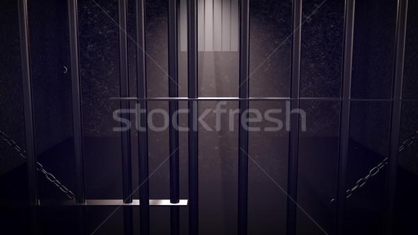 3d prisión células dos personas oscuro Foto stock © klss