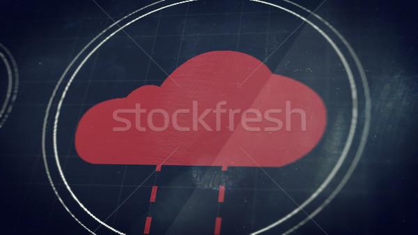Chmura icon perspektywy widoku działalności Internetu projektu Zdjęcia stock © klss