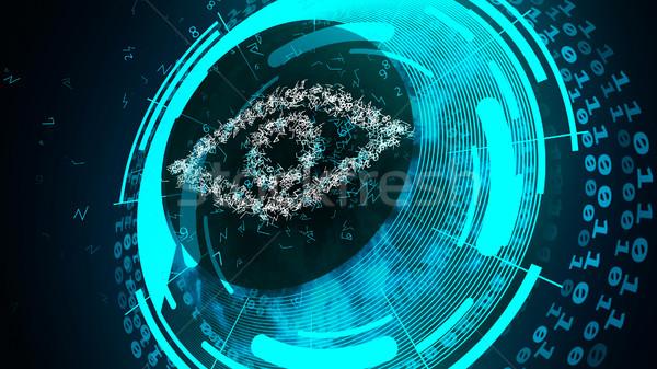 Göz güvenlik 3d illustration mavi renk soyut Stok fotoğraf © klss