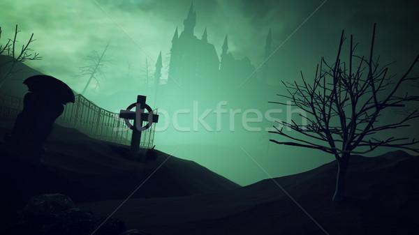 Ciemne zamek cmentarz 3D drzewo Zdjęcia stock © klss