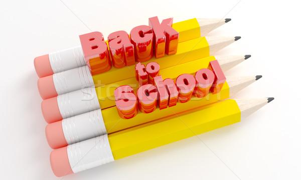 Ołówki tekst powrót do szkoły 3d technologii farbują Zdjęcia stock © klss