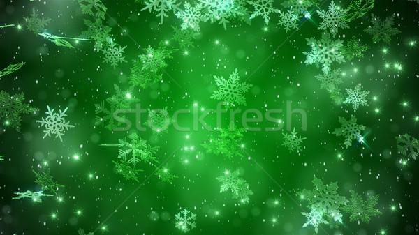 Mooie sneeuwvlokken groene winter vakantie heldere Stockfoto © klss