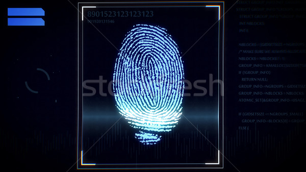 Fingerprint scanner, identification system.  Stock photo © klss