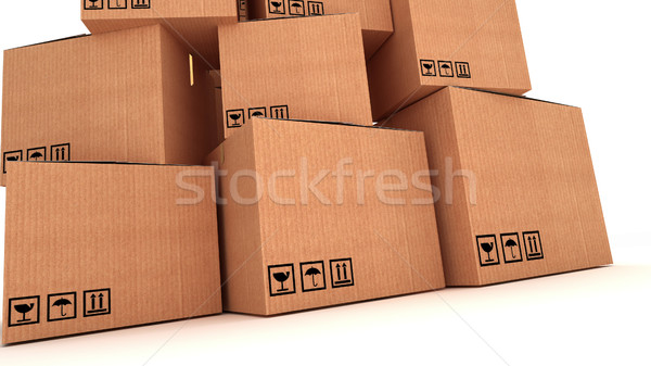 collection of various cardboard boxes on white background.  Stock photo © klss