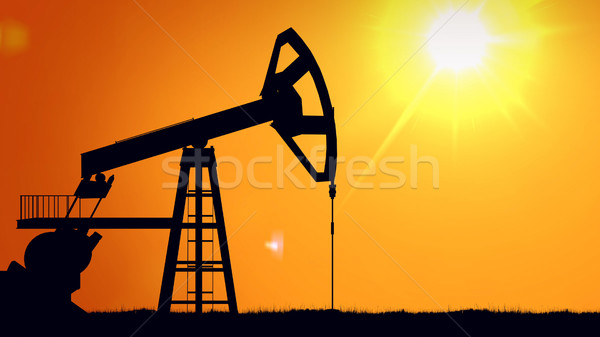 pump jacks at sunset Stock photo © klss
