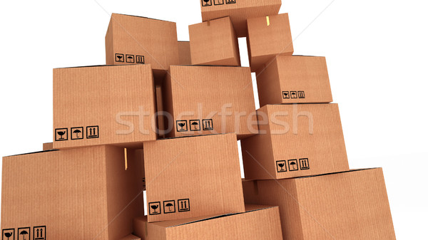 Stacks of cardboard boxes isolated on white background Stock photo © klss