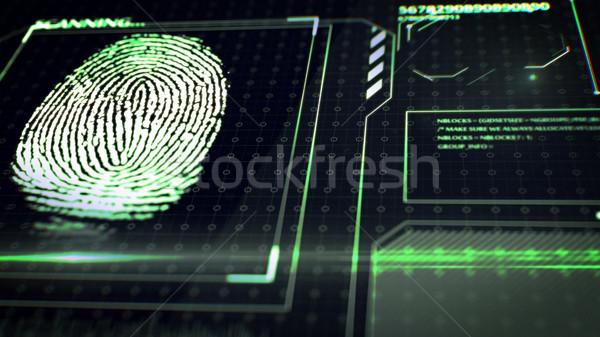 Ujjlenyomat interfész 3D renderelt kép számítógép kéz Stock fotó © klss
