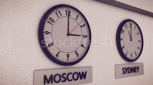 Clocks on wall Stock photo © klss