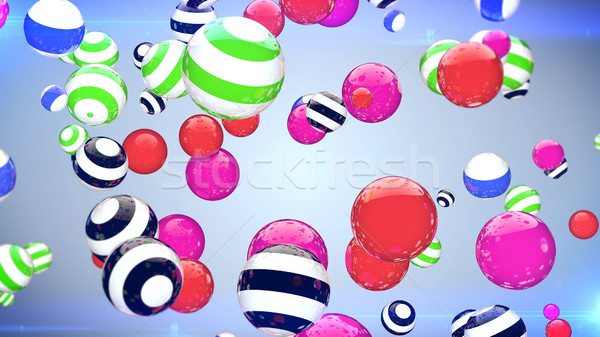 Abstract multicoloured spheres of different size flying on a blue background Stock photo © klss