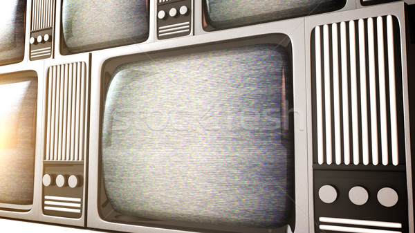 Retro television equipment noise display screen Stock photo © klss