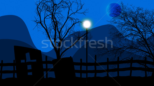 Halloween concept graveyard, lampstand and moon Stock photo © klss