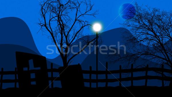 Halloween cimetière lune 3d illustration ciel bleu ville Photo stock © klss