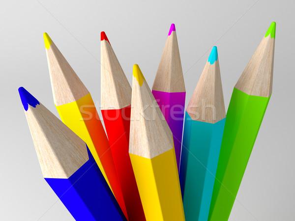 карандашей окрашенный различный цветами 3d визуализации белый Сток-фото © klss