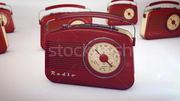 радио белый 3D красный ретро Сток-фото © klss