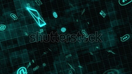 3D sms e-mail envelop iconen Stockfoto © klss