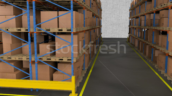 Interior of warehouse. Rows of shelves with boxes. Stock photo © klss