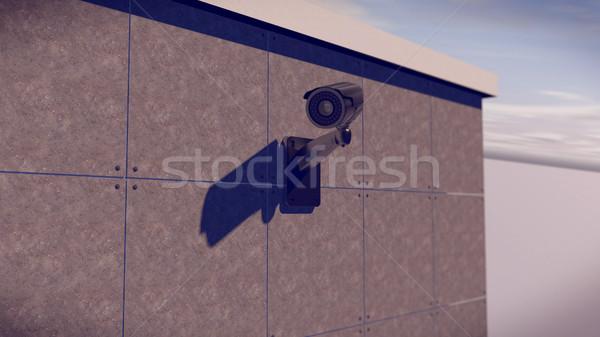 Argent cctv caméra mur 3D Photo stock © klss