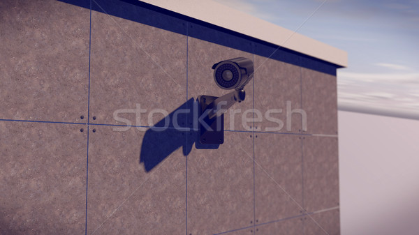 Silver CCTV Camera on the wall Stock photo © klss