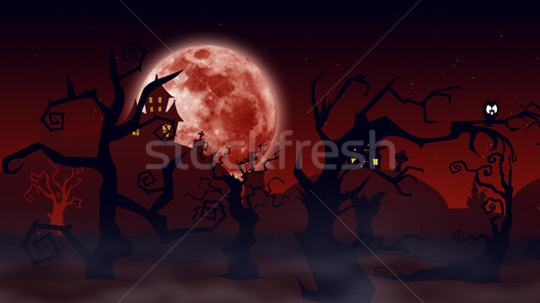 Halloween background. Spooky forest with dead trees and bats Stock photo © klss