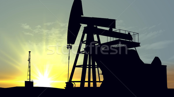 Oil pump oil rig energy industrial machine Stock photo © klss