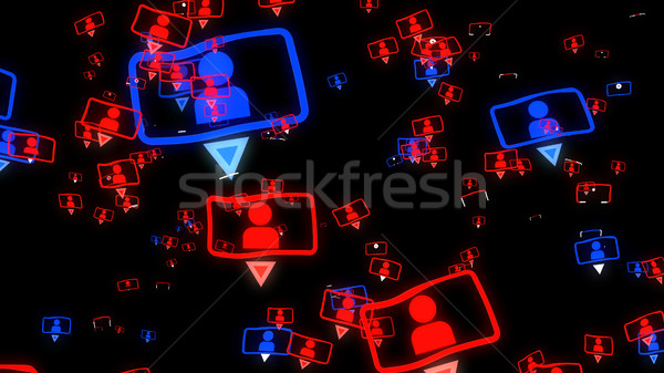 Social media concept on a black background. Stock photo © klss