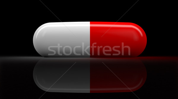 医療 ピル 孤立した 3dのレンダリング 黒 反射 ストックフォト © klss