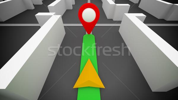GPS маршрут навигация назначение 3D Сток-фото © klss