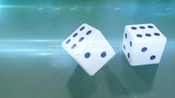 Rolling two white dices with a green background Stock photo © klss