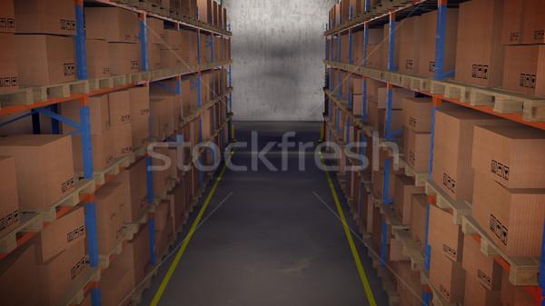 Armazém interior 3d render edifício caixa espaço Foto stock © klss