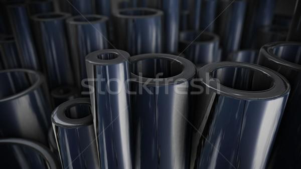 Wiele błyszczący stali rur ciężki przemysłowych Zdjęcia stock © klss