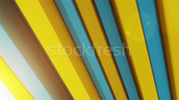 Soyut 3D renk çubuklar sarı mavi Stok fotoğraf © klss