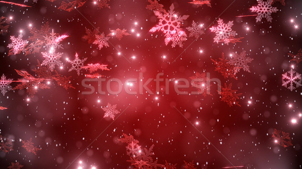 Snowfall with a red background Background  Stock photo © klss