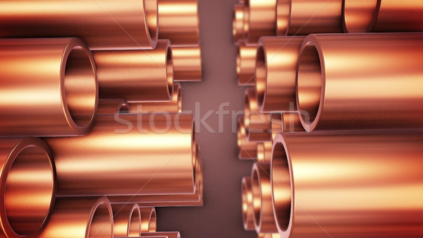 Copper tubes stack Stock photo © klss
