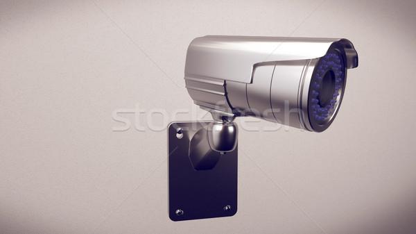 Güvenlik kamera 3D beyaz duvar Bina Stok fotoğraf © klss