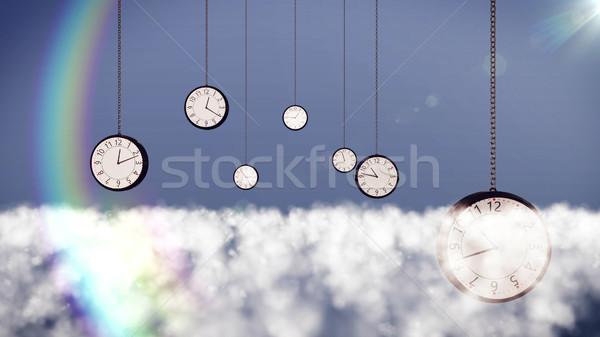 Saatler bulutlar gökyüzü 3D el Stok fotoğraf © klss