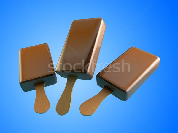 チョコレート アイスクリーム 3D イラスト 水色 幸せ ストックフォト © klss