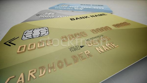 Cartões de crédito 3D conjunto cor isolado Foto stock © klss