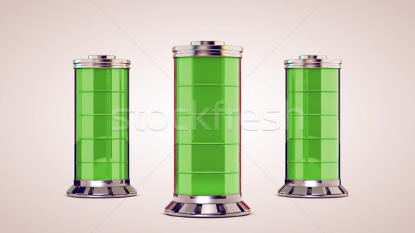 Drei Glas Batterie isoliert weiß Business Stock foto © klss