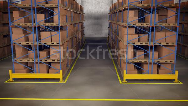Warehouse interior with racks and crates Stock photo © klss