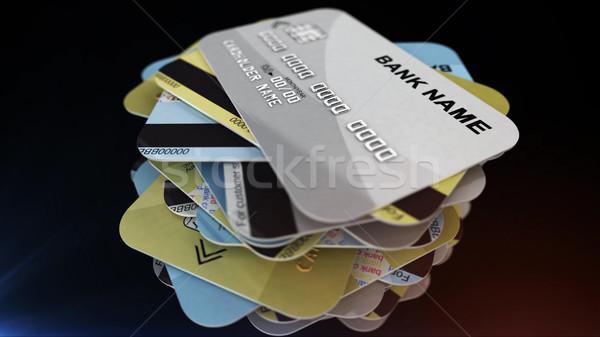 Carte de crédit 3D argent fond Photo stock © klss