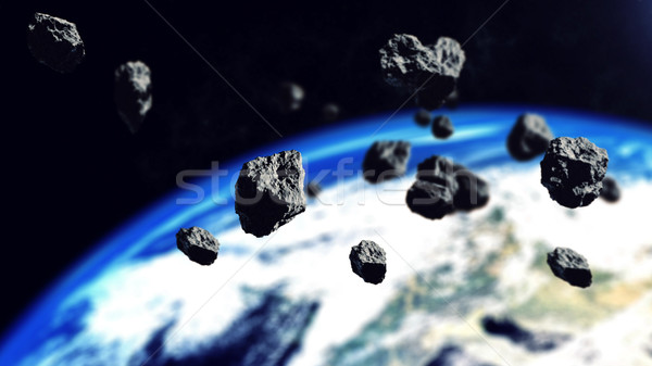 The asteroids ready to attack on the Earth Planet Stock photo © klss