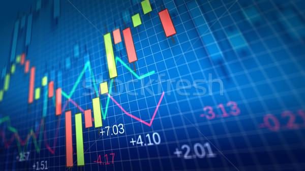 Mercado de ações traçar raso campo azul computador Foto stock © klss