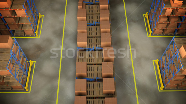 Magazijn interieur 3d render gebouw vak ruimte Stockfoto © klss