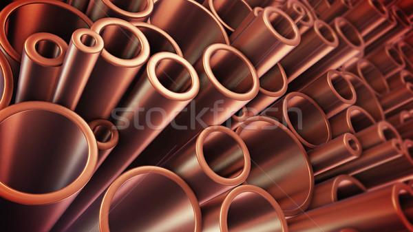 Cuivre tuyaux tas métal 3D Photo stock © klss